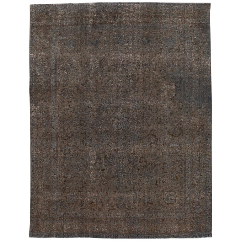 Mid-20th Century Vintage Overdyed Wool Rug For Sale