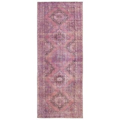 Mid-20th Century Vintage Overdyed Wool Runner Rug