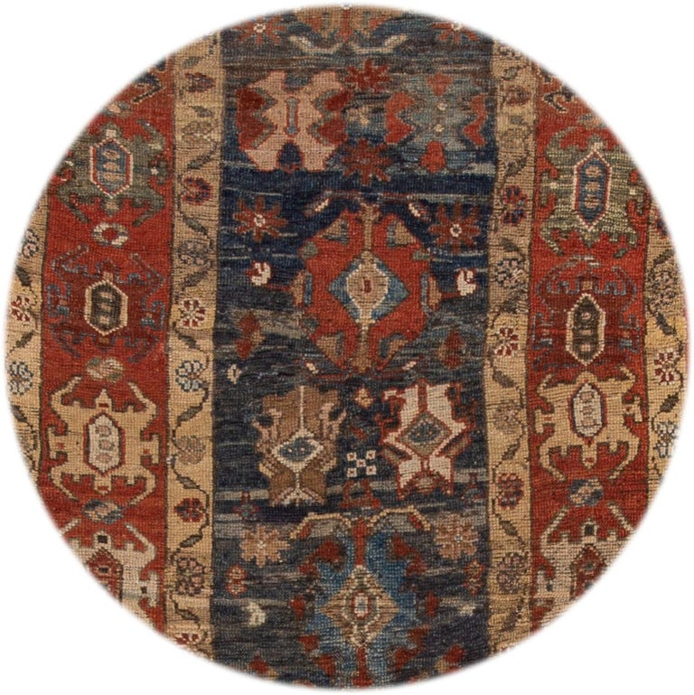Beautiful Vintage Bakshaish rug, hand-knotted wool with a blue field, rust, and tan accents in a multi-medallion design.  This rug measures 3' 9