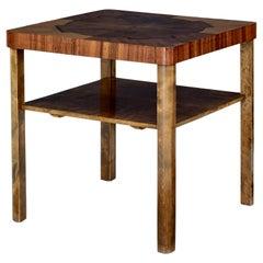 Mid 20th Century Walnut and Birch Inlaid Coffee Table