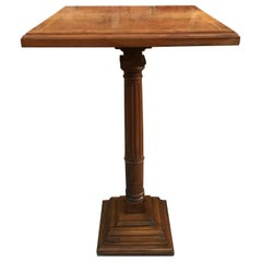Mid-20th Century Walnut Wood Square Top Pedestal Table