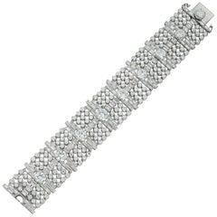 Mid-20th Century Wide Diamond-Set Bracelet