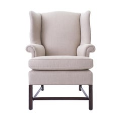 Mid-20th Century Wingback Chair Reupholstered in Natural Linen