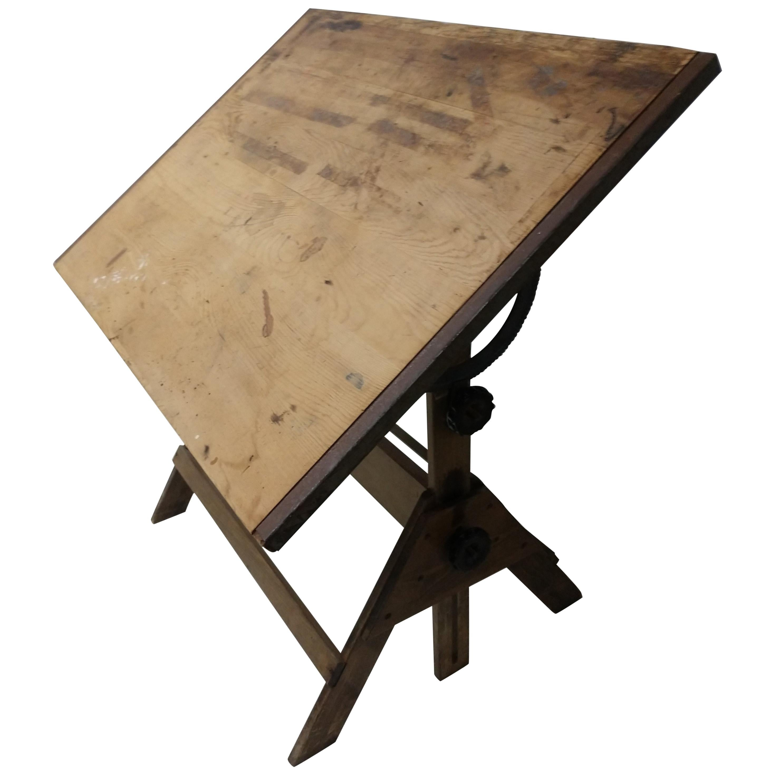 Mid-20th Century Wood and Iron Anco Drafting Table
