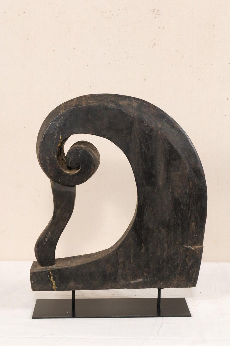 Hand-Carved Mid-20th Century Wooden Boat Prow from India For Sale