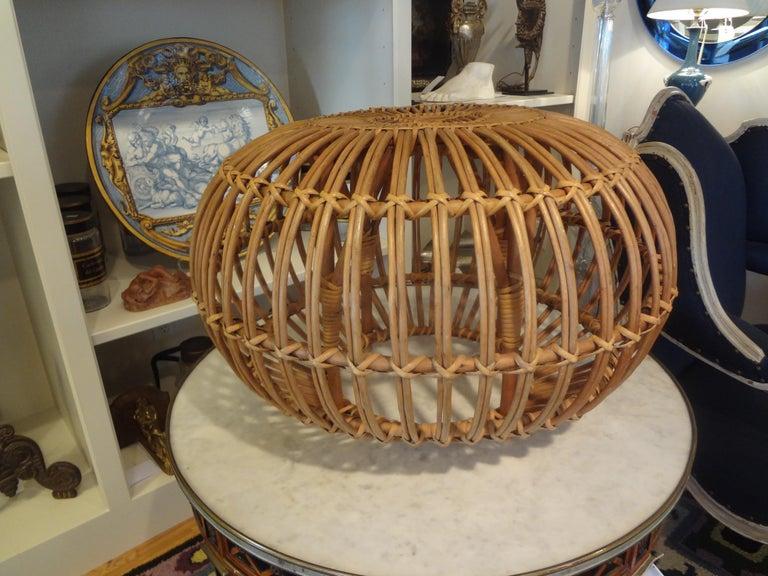 Mid-20th Century Italian Woven Rattan Ottoman Designed by Franco Albini In Good Condition For Sale In Houston, TX