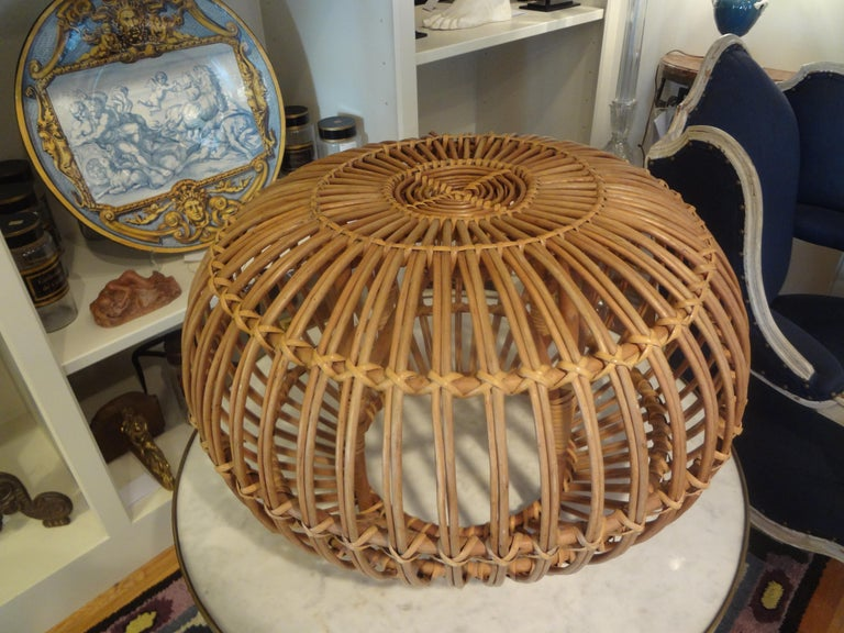 Mid-20th Century Woven Rattan Ottoman Designed by Franco Albini In Good Condition For Sale In Houston, TX