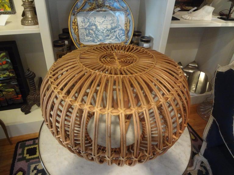 Mid-20th Century Italian Woven Rattan Ottoman Designed by Franco Albini For Sale 2