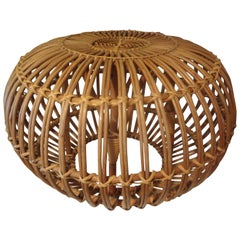 Mid-20th Century Woven Rattan Ottoman Designed by Franco Albini