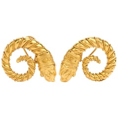 Mid-20th Century Zolatos Greek 22 Karat Gold Large Clip-On Earrings