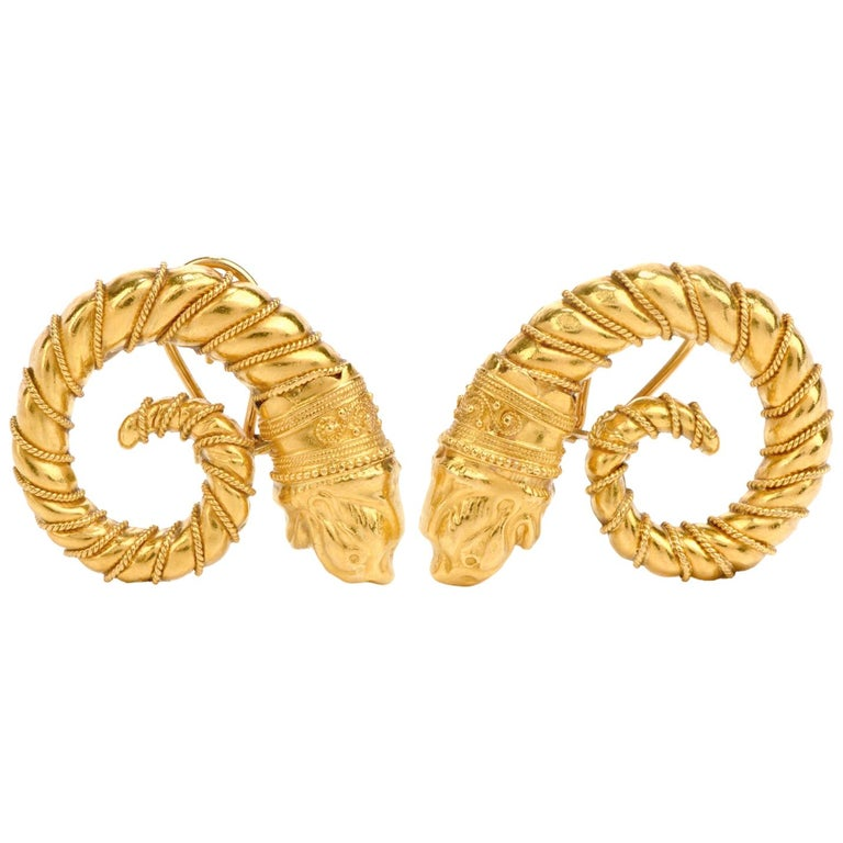 Mid-20th Century Zolatos Greek 22 Karat Gold Large Clip-On Earrings For Sale