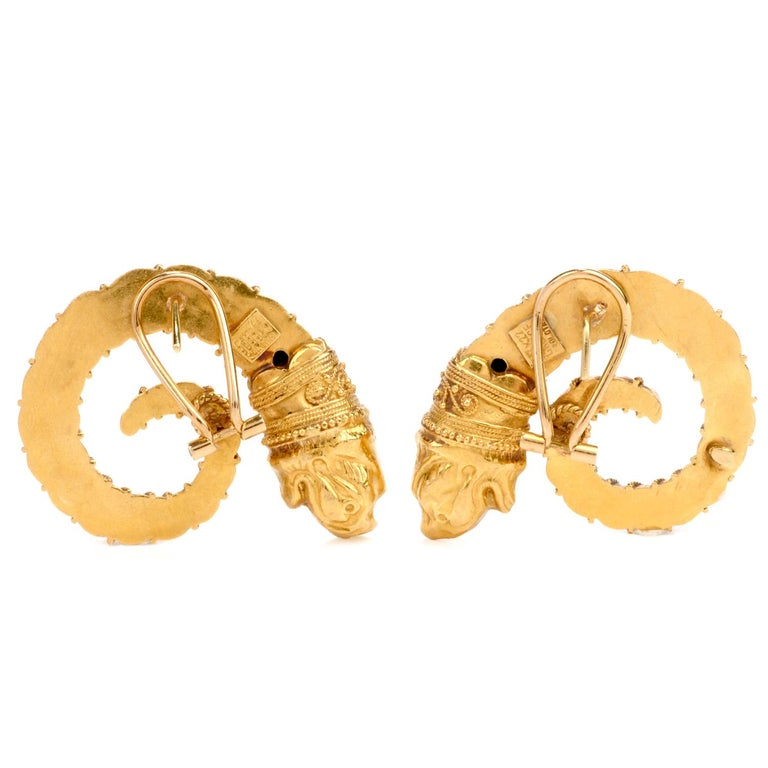 Mid-20th Century Zolatos Greek 22 Karat Gold Large Clip-On Earrings In Excellent Condition For Sale In Miami, FL