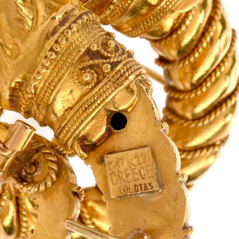 Women's Mid-20th Century Zolatos Greek 22 Karat Gold Large Clip-On Earrings For Sale