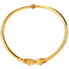 Mid-20th Century Zolotas Greek 22 Karat Gold Torque Cuff Necklace