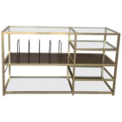 Mid 20th Italian Brass and Glass Record Console Étagère / Display / Bookshelf