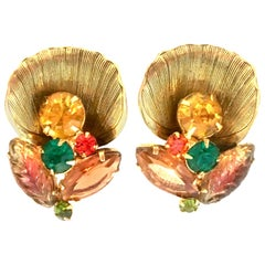 Mid-20th Pair Of Century Gold Plate & Austrian Crystal Abstract Floral Earrings