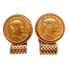 Mid-20th Pair Of Century Gold Plate Cinco Centavos Mexican Coin Cufflinks