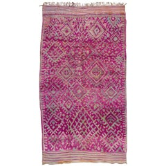 Mid-20th Century Vintage Geometric Purple Moroccan Wool Rug