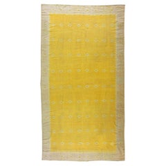 Mid-20th Yellow Century Indian Dhurrie Flat-Woven Cotton Rug