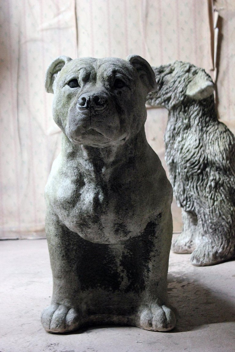 Mid-20th Century Cast Composition Stone Staffordshire Bull Mastiff For Sale 9