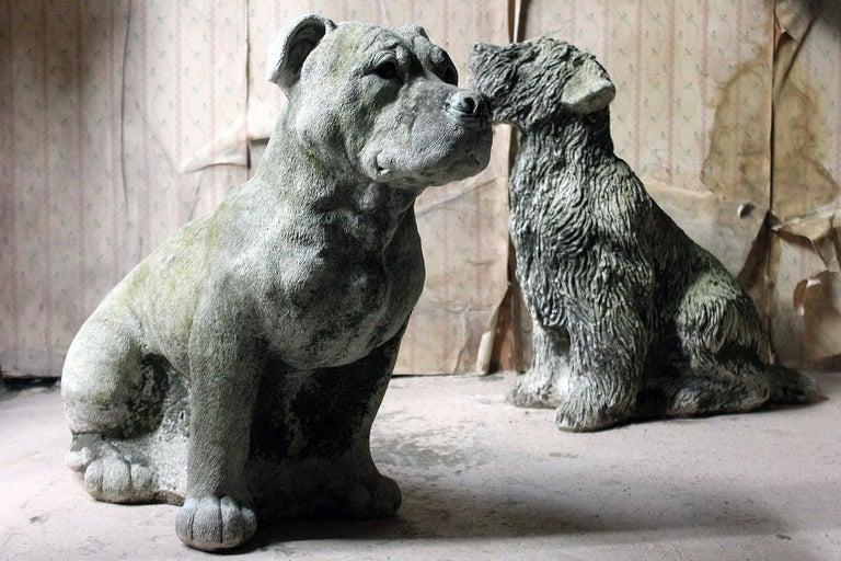Mid-20th Century Cast Composition Stone Staffordshire Bull Mastiff For Sale 15