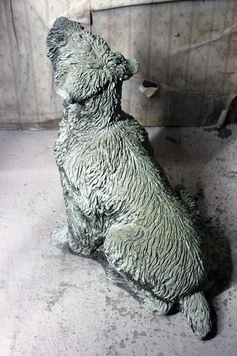 Mid-20th Century Cast Composition Stone Wheaten Terrier For Sale 5