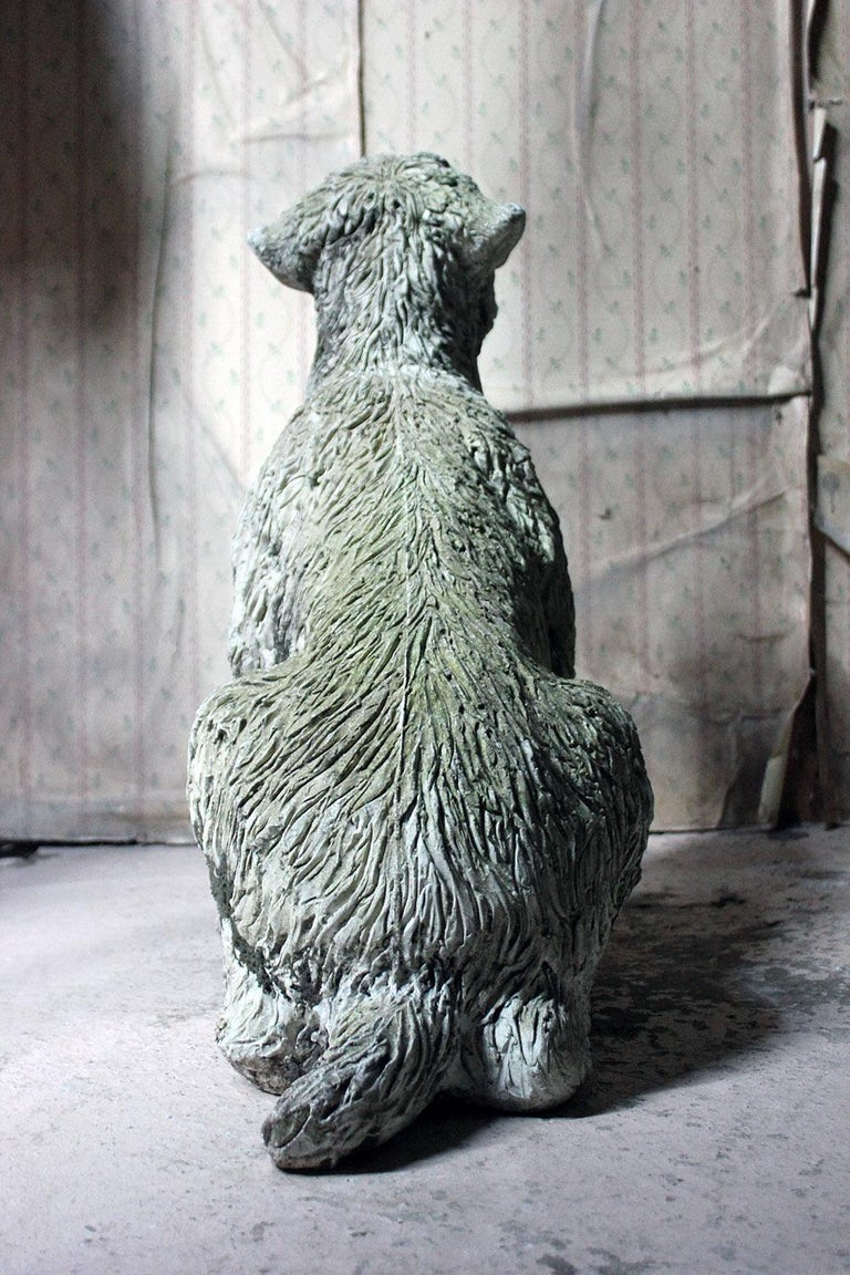 Mid-20th Century Cast Composition Stone Wheaten Terrier For Sale 6
