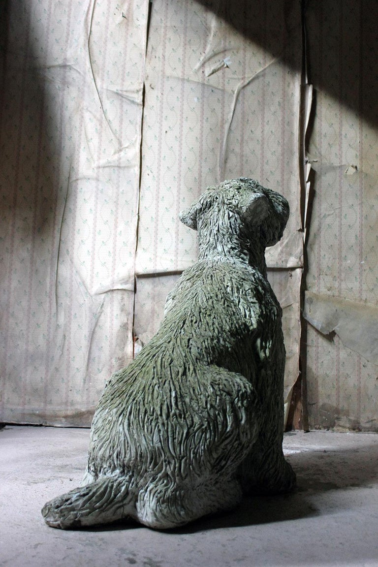 Mid-20th Century Cast Composition Stone Wheaten Terrier For Sale 8