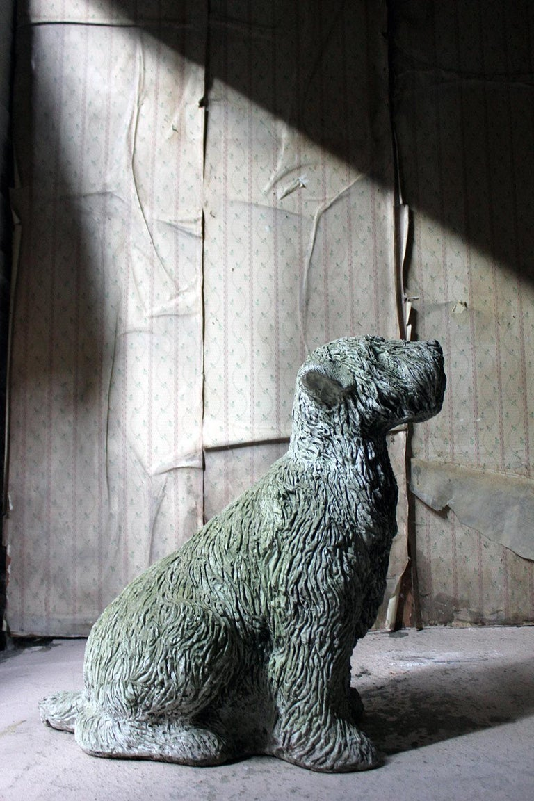 Mid-20th Century Cast Composition Stone Wheaten Terrier For Sale 9