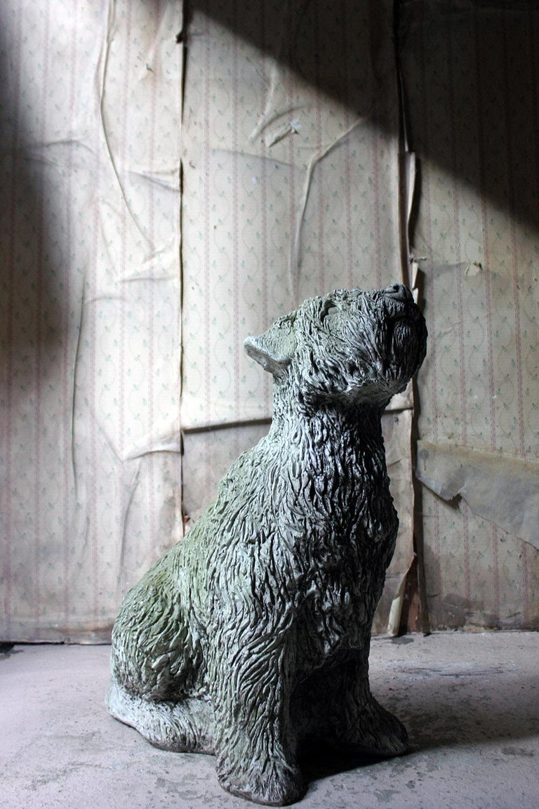 Mid-20th Century Cast Composition Stone Wheaten Terrier For Sale 11