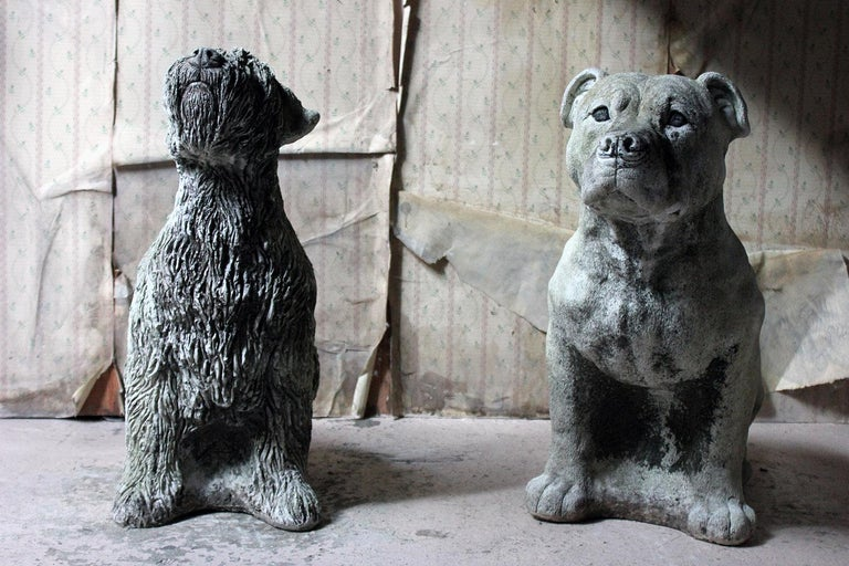 Mid-20th Century Cast Composition Stone Wheaten Terrier For Sale 13