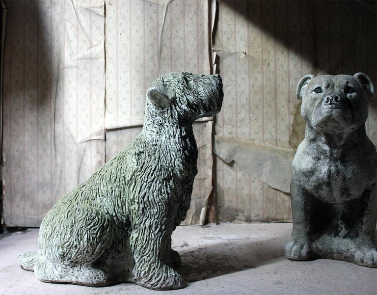 Mid-20th Century Cast Composition Stone Wheaten Terrier For Sale 14