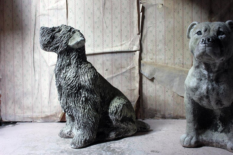 Mid-20th Century Cast Composition Stone Wheaten Terrier For Sale 15