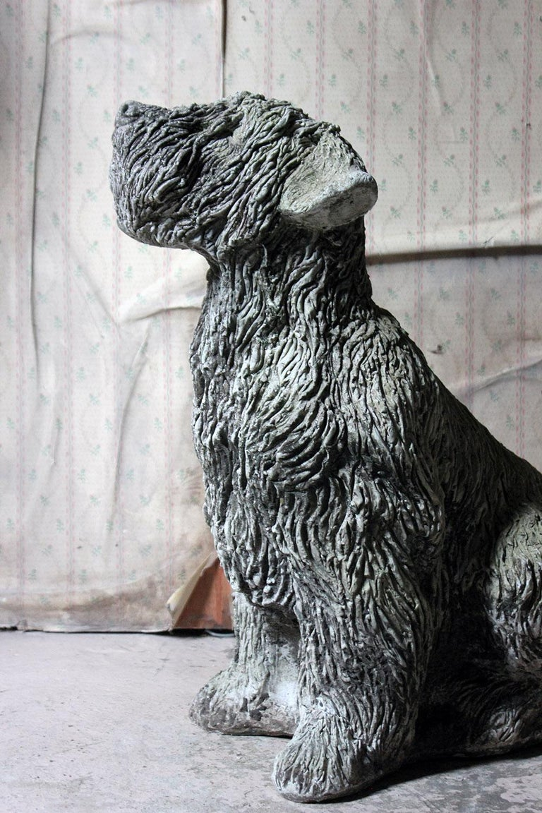 English Mid-20th Century Cast Composition Stone Wheaten Terrier For Sale