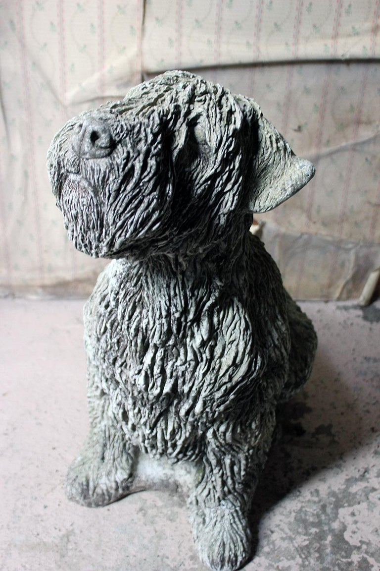 Mid-20th Century Cast Composition Stone Wheaten Terrier In Fair Condition For Sale In Bedford, Bedfordshire