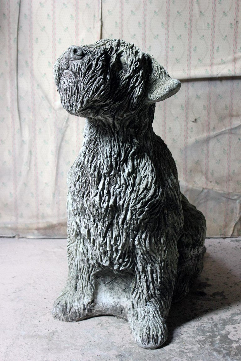 Mid-20th Century Cast Composition Stone Wheaten Terrier For Sale 1