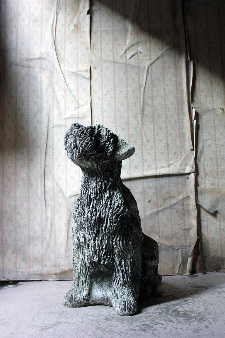 Mid-20th Century Cast Composition Stone Wheaten Terrier For Sale 2