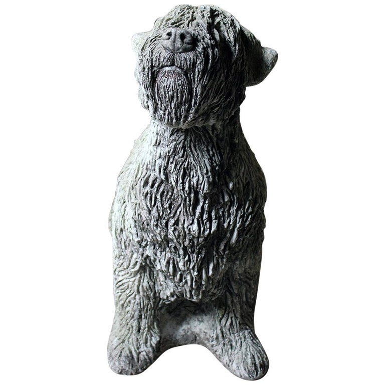 Mid-20th Century Cast Composition Stone Wheaten Terrier For Sale