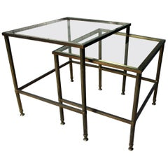 Mid-20th Century French Nest of Two Brass & Glass Occasional Tables c.1950-1960