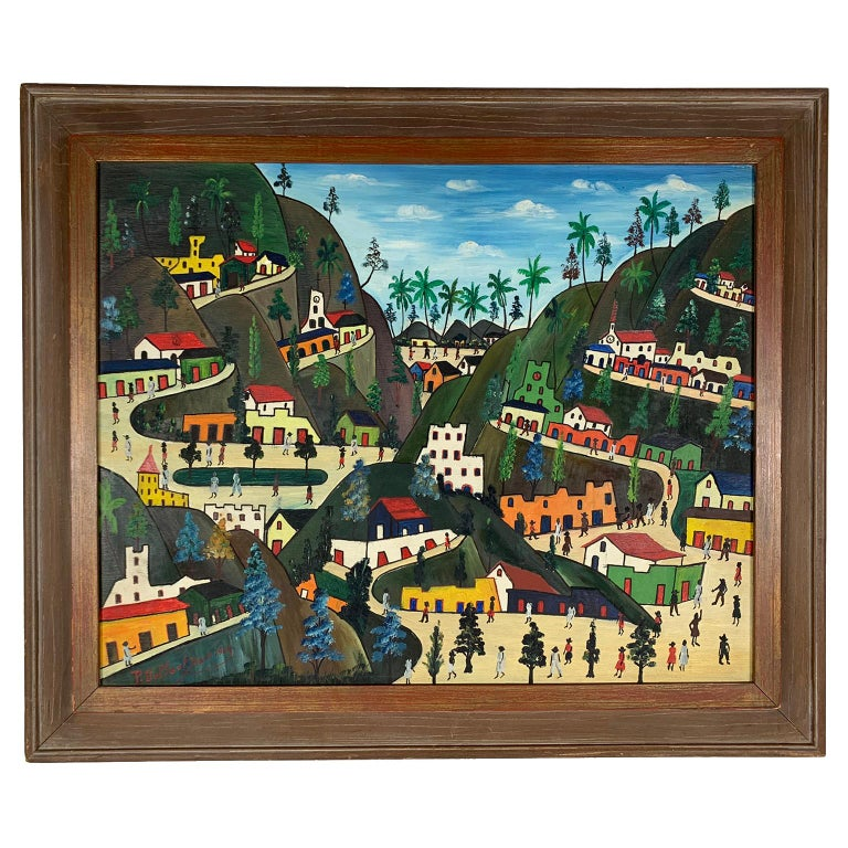 Préfète Duffaut (Haitian, 1923 - 2012) Untitled figures in a village. Oil on Masonite, signed and dated lower left