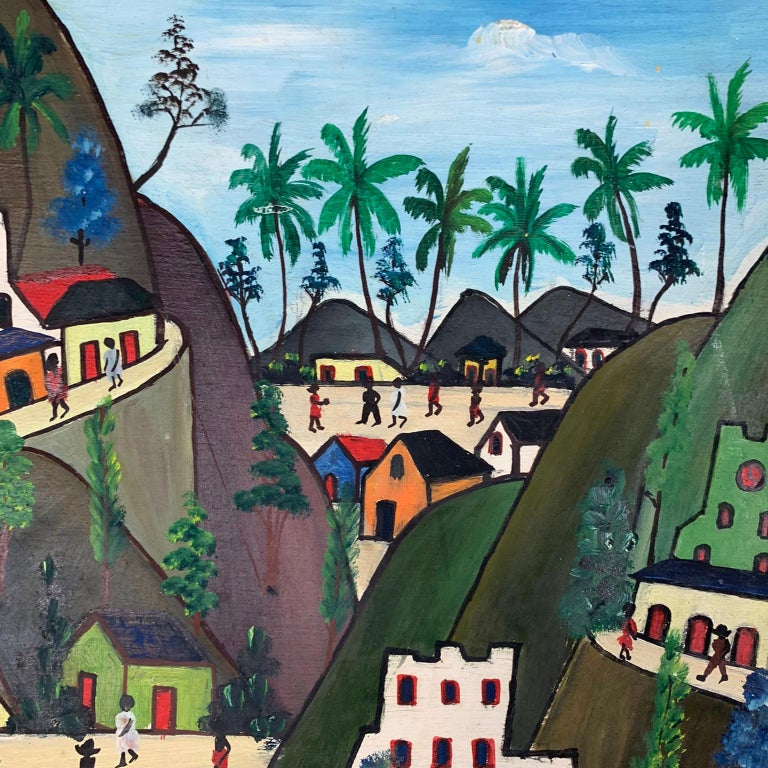Mid-20th Century Haitian Oil on Board by Préfète Duffaut  In Good Condition For Sale In Concord, MA