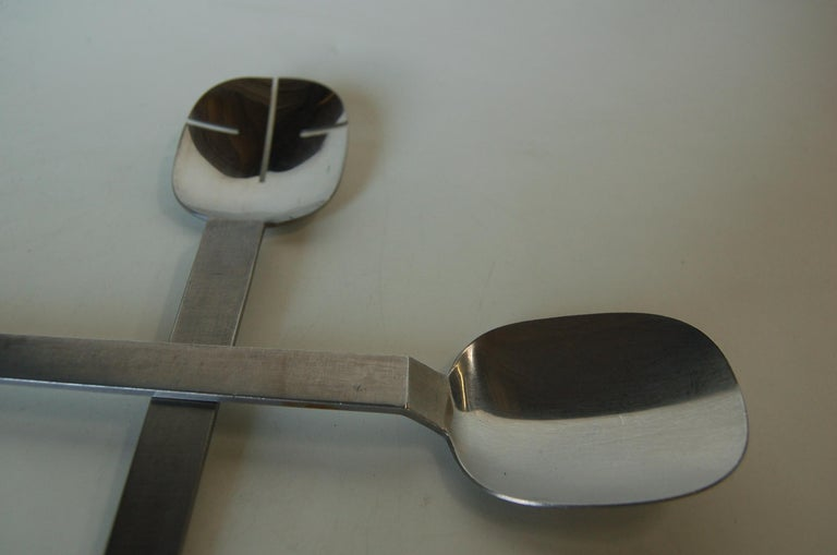 Polished Mid C. Stainless Steel Salad Serving Utensils Set by Arthur Salm Amboss, Austria For Sale