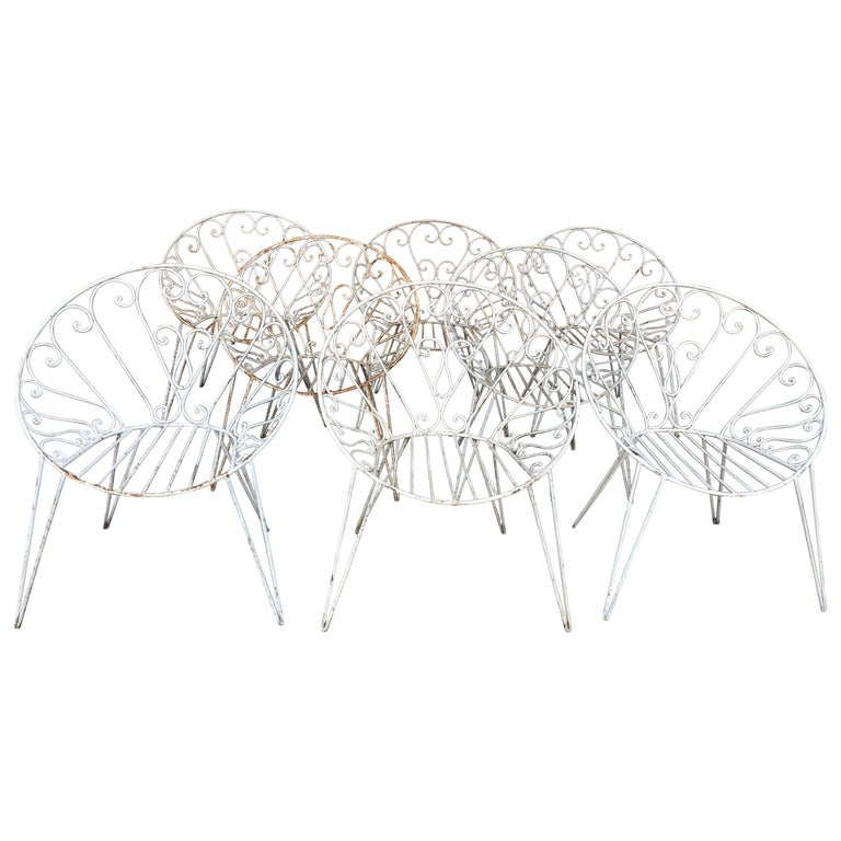Mid-Century Modern French Set of 8 White Lacquered Iron Garden Chairs, 1960s For Sale