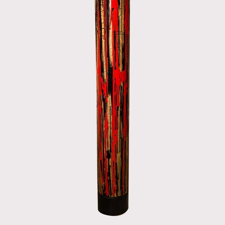 Mid-Century Modern Midcentury Modernist Floor Lamp Art Enamel on Metal Acrylic Shade, Angelo Brotto For Sale
