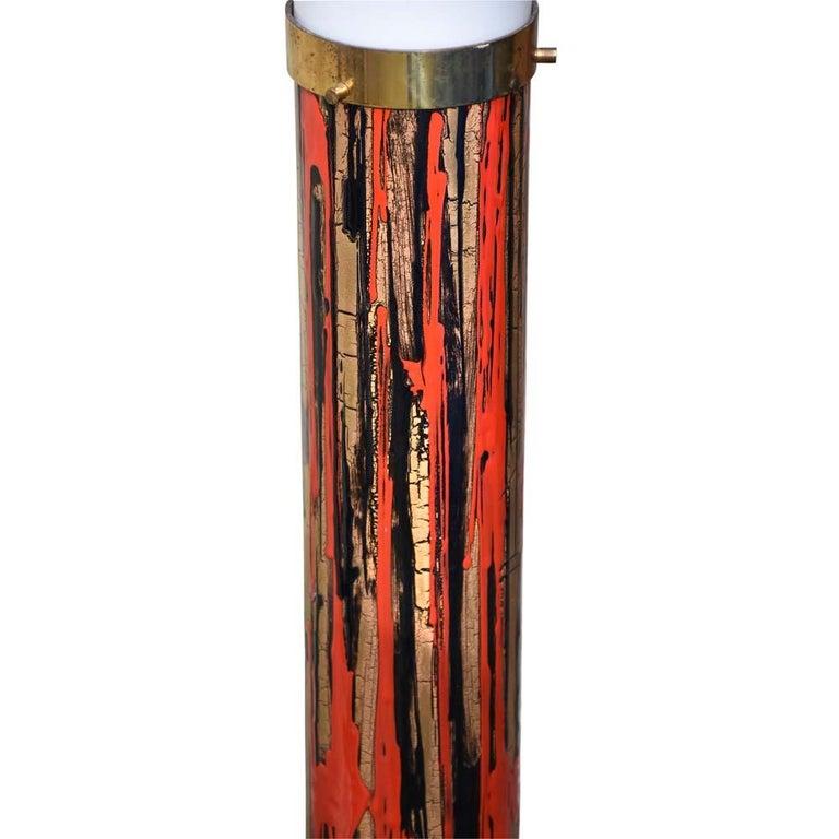 Italian Midcentury Modernist Floor Lamp Art Enamel on Metal Acrylic Shade, Angelo Brotto For Sale