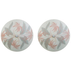 Midcentury Palm Beach Glass Flushmount with Gray and Coral Flora Motif