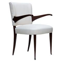 Mid-Centruy Modern White Cotton Italian 1950s Desk Armchair by Vittorio Dassi