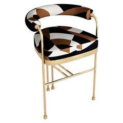 Art Deco Style Modern Velvet Bar Chair or Counter Hight and Golden Details