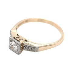 Mid Century 0.30 Carat Two Toned Diamond Solitaire Ring