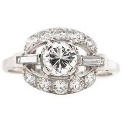 Midcentury 0.40 Carat Platinum Diamond Ring